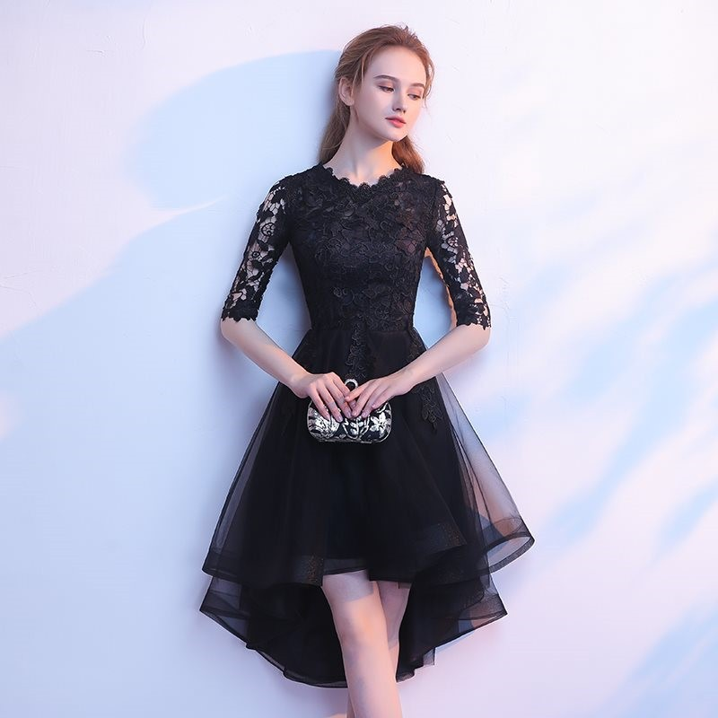 Black Wedding Party Cheongsam Oriental Evening Dress Chinese Traditional Womens Elegant Qipao Sexy Lace Robe Retro