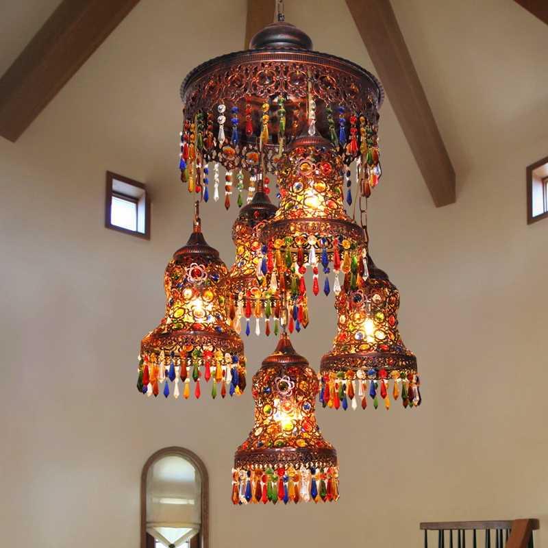 Турецкий богема средиземноморская люстра для спальни ресторана ретро многоцветный Бронзовый подвесной светильник из кованого железа a218