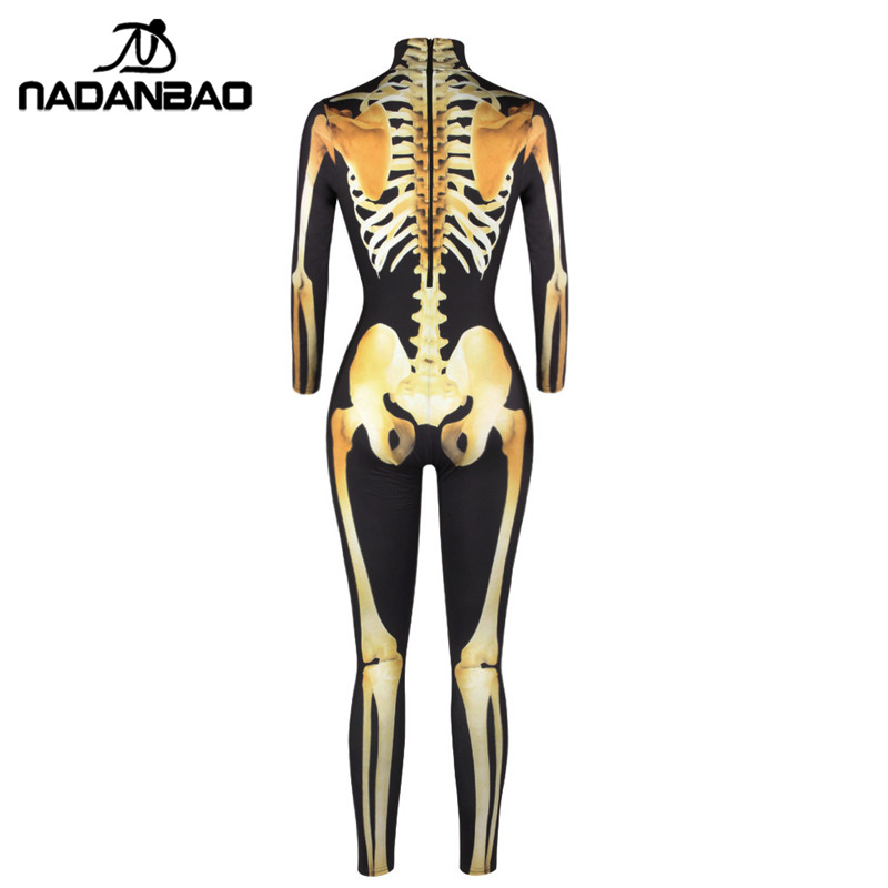 1f34261884e3b NADANBAO Gold Mechanical Bone Skull Costume Women Halloween Outfit Skeleton Costumes  Plus Size Jumpsuit Scary Bodysuit-in Scary Costumes from Novelty ...