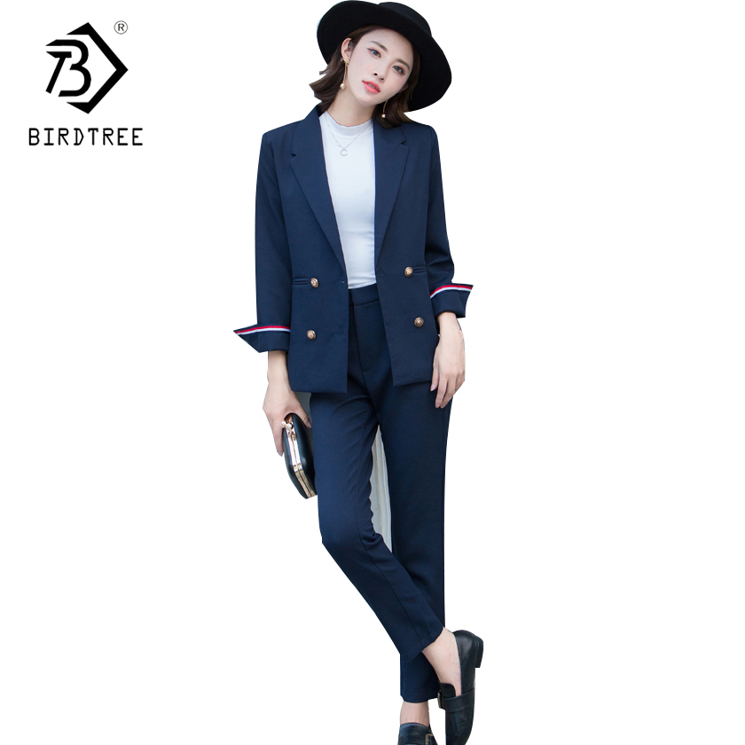 2018 New fashion Women Business Pant Suits Formal Office Work Double-breasted Slim Long-sleeve blazer and pants trousers C81201L