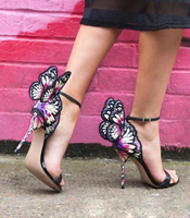 Sexy Embroidered Stereo Butterfly Wings Wedding Sandals Women Angel Wings Pumps Open Toe Ankle Wrap Party Dress High Heels