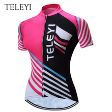 TELEYI Women Quick Drying Breathable Bicycle Clothes Summer UV Cycling Jersey Cycling Shirt Ropa Ciclista Cyclisme Maillot(Hong Kong)