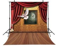 Magic Stage Dove Painting Floor Red Curtains Frame Backdrop Vinyl Cloth Computer Printed Wall Photo Studio