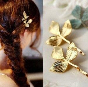 2018 New Clover Leaves Gold Pated Hair Clip Barrettes Hair Accessories Fashion Girls Women Fashion Cute Headwear Hair Clips
