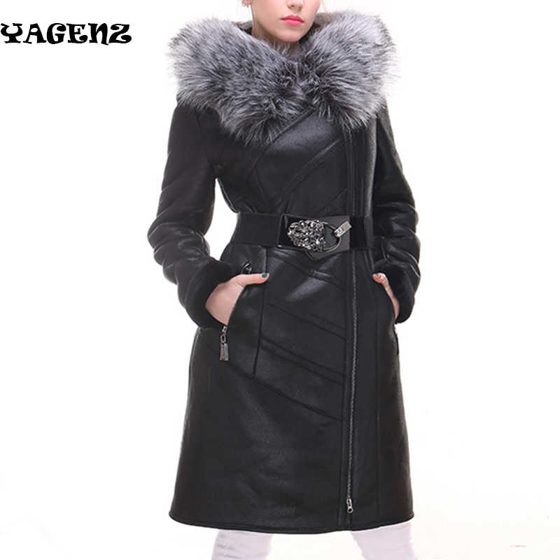 Women Winter Coat 2019 Women Winter Coat Fashion Sheepskin Faux Fox Fur Collar Slim Hooded Thickened Plus size Suede Fur Coat