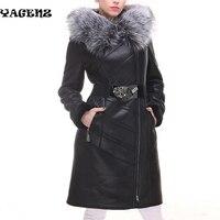 Women Winter Coat 2019 Women Winter Coat Fashion Sheepskin Faux Fox Fur Collar Slim Hooded Thickened Plus size Suede Fur Coat