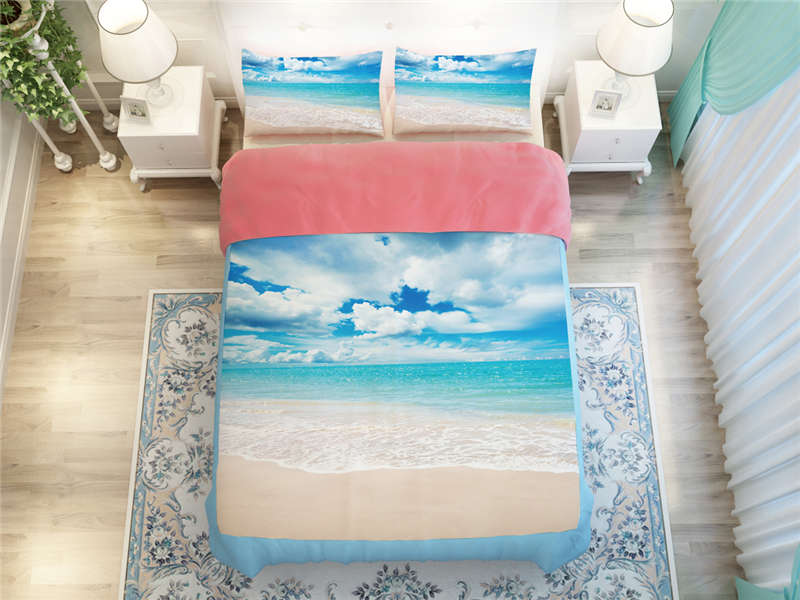 bright skyblue colored sea beach scenic print bedding set bedspread twin full queen king size bed linens duvet covers 45 pieces