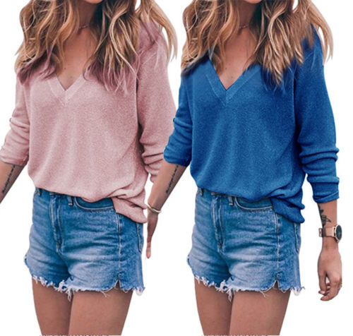 Sweater V Neck Women Autumn Kint Pullover Tops V Neck Solid Slim Sexy Pullovers Coat Female Blouse Knit Sweater Womens Tops