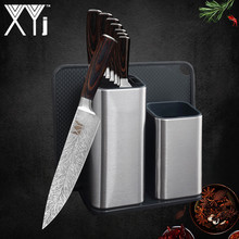 XYj 6 8 Kitchen Knife Holder Stand Stainless Steel 7CR17 Damascus Veins Blade Color Wood Handle Accessories