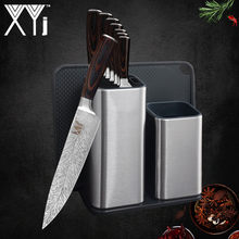 XYj 6'' 8'' Kitchen Knife Holder Stand Stainless Steel 7CR17 Damascus Veins Blade Color Wood Handle Knife Kitchen Accessories(China)