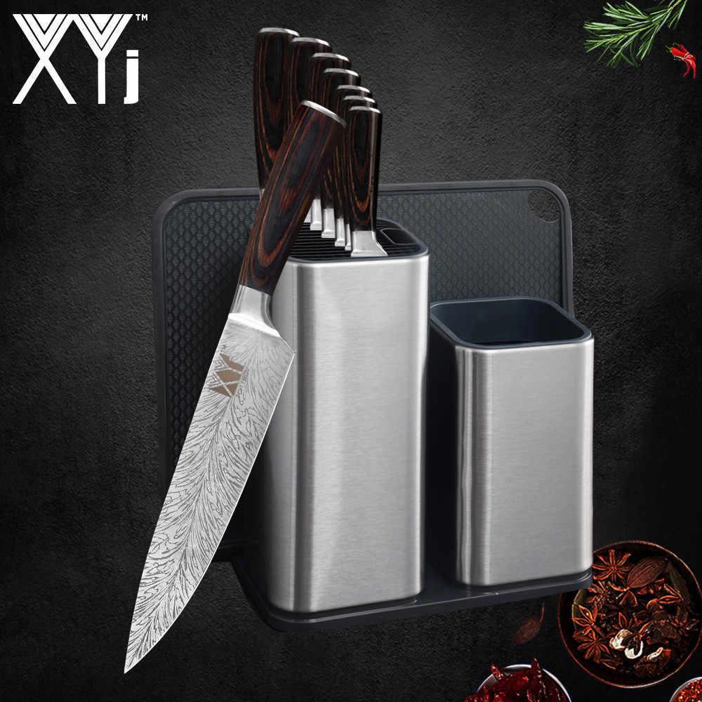 XYj 6 ''8'' mutfak bıçağı tutucu standı paslanmaz çelik 7CR17 şam damarlar bıçak rengi ahşap saplı bıçak mutfak aksesuarları