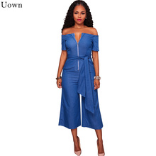 Uown Blue Jean Rompers Sexy Womens Overalls 2017 Elegant Loose Denim Zipper Off Shoulder Wide Leg Jumpsuit Club Playsuits Sashes
