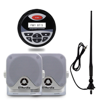 Waterproof Marine Stereo Boat MP3 Player USB AUX Motorcycle Yacht Heavy Duty 2 Way Compact Speakers