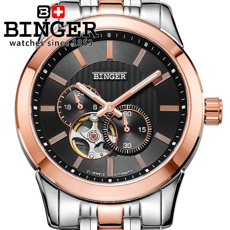 Switzerland watches men luxury brand Wristwatches BINGER 18K gold Automatic self-wind full stainless steel waterproof BG-0406-4 switzerland watches men luxury brand wristwatches binger luminous automatic self wind full stainless steel waterproof bg 0383 3