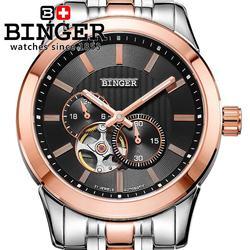 Szwajcarskie zegarki mężczyźni luksusowej marki BINGER japan miyota automatyczne mechaniczne zegarki Sapphire szkielet wodoodporny BG-0406-4