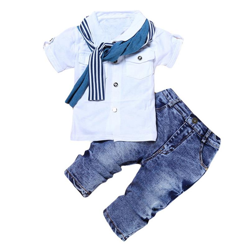 2018 Summer Children Clothing Costume Baby Boys Clothes Tops Tshirt+Jeans 2pcs Sports Suits For Boys Kids Clothes 5 2 6 7 Years
