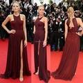 Sexy Gossip Girl Blake Lively Em Cannes Celebridade do Tapete Vermelho Vestidos Chiffon Alta Dividir Vestidos de Noite Formal Vestido de Festa