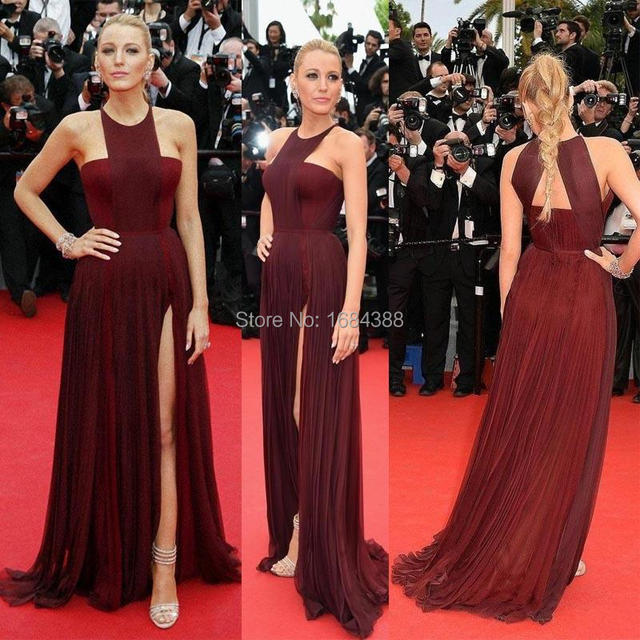 Sexy Gossip Girl Blake Lively In Cannes Red Carpet Celebrity Dresses Chiffon High Split Evening Gowns Formal Party Dress