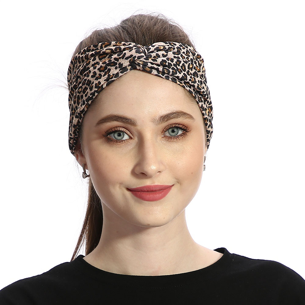 Women's Leopard Turban Headbands Fashion Twist Elastic Stretch Hairbands For Girls Female Cotton Bohemia Cross Knot   Headwear