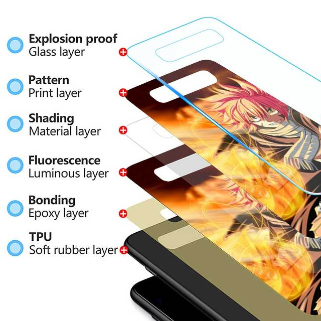 Fairy Tail Tempered Glass Case for Samsung Galaxy S10 S10e S9 S8 S10 Plus Note 9 A50 A30