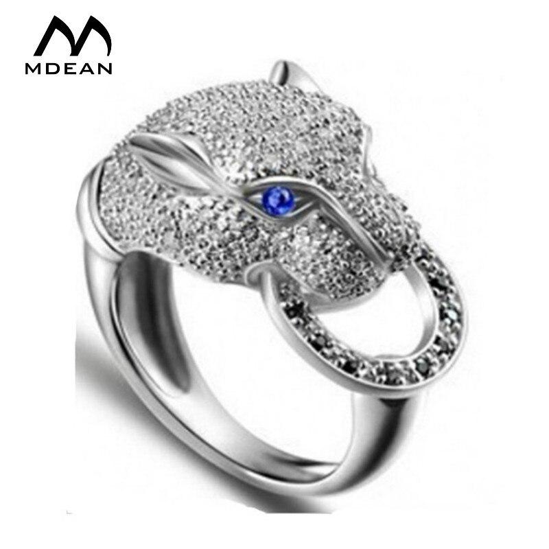 Prix pour MDEAN Léopard bijoux Or Blanc Couleur anneaux pour femmes ou hommes avec de luxe zircon Bleu Yeux Doigt bague anneau animal MSR045