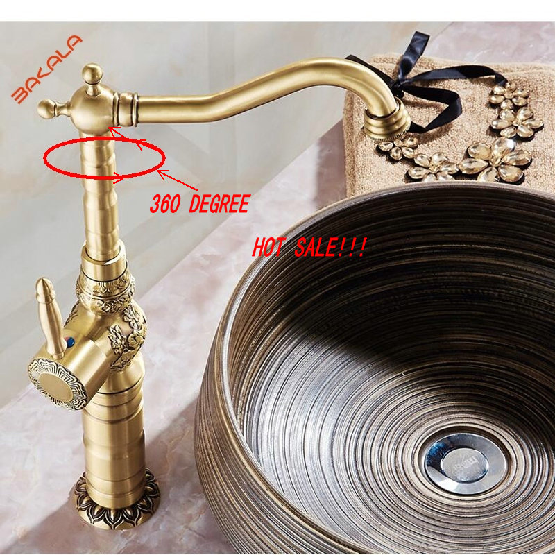 Bakala Classic Deck Mount Single Hand Bathroom Sink Swivel Mixer Faucet Antique Brass Hot And
