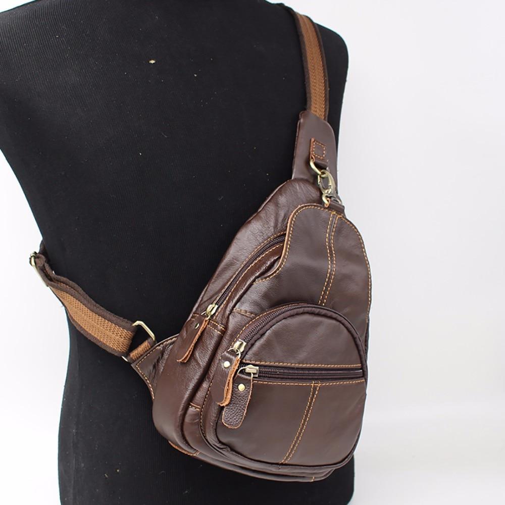 High Quality Men Genuine Leather Sling Chest Day Back Pack Rucksack Travel Casual Crossbody Bags Vintage Shoulder Messenger Bag