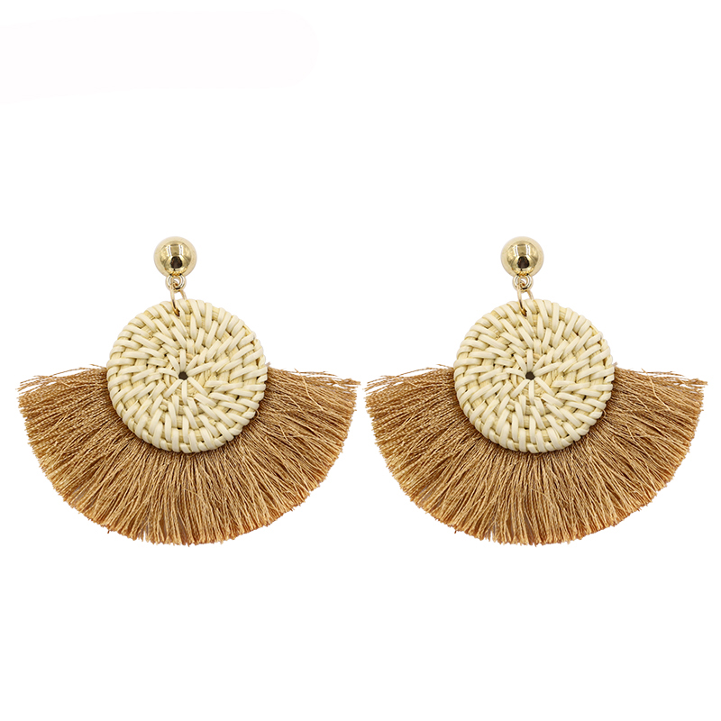 F.j4z Hot Handmade Wooden Straw Weave Rattan Braided Big Circle Triangle Long Drop Earrings For Women Girl Aretes De Mujer Drop Earrings Earrings