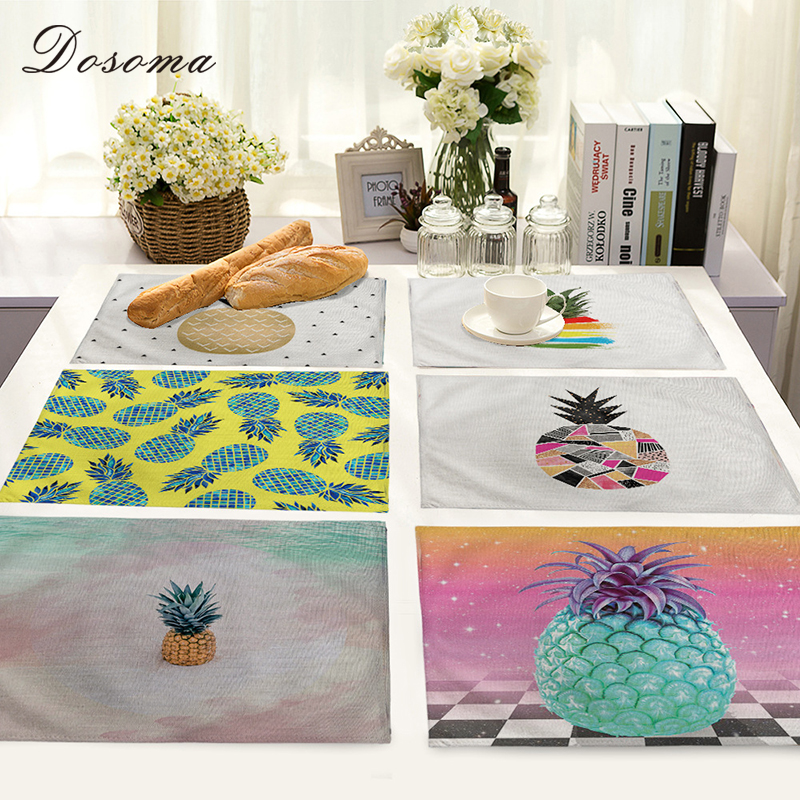 Cotton Linen Insulation West Table Mat Painted Pineapple Placemat For Dining Table Chancery Onderzetters Kitchen Accessories In Mats Pads From Home
