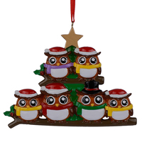 Colorful Owl Family Of 6 Members Christmas Gifts Wall Decal Art Sticker Home Decor