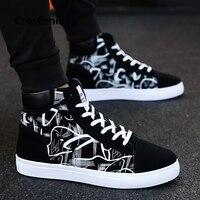 Cresfimix zapatos hombre Мужская мода новый стильный черный узор высокая обувь мужская крутая весна и осень Удобная Обувь На Шнуровке a2098