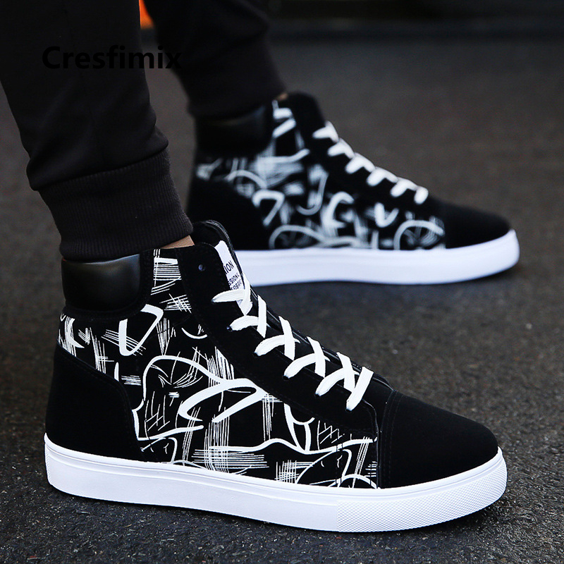 Cresfimix zapatos hombre male fashion new stylish black pattern high shoes men cool spring & autumn comfy lace up shoes a2098 stylish lace up straight slim jacket