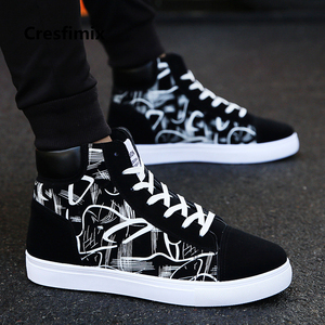 Image 1 - Cresfimix zapatos hombre male fashion new stylish black pattern high shoes men cool spring & autumn comfy lace up shoes a2098