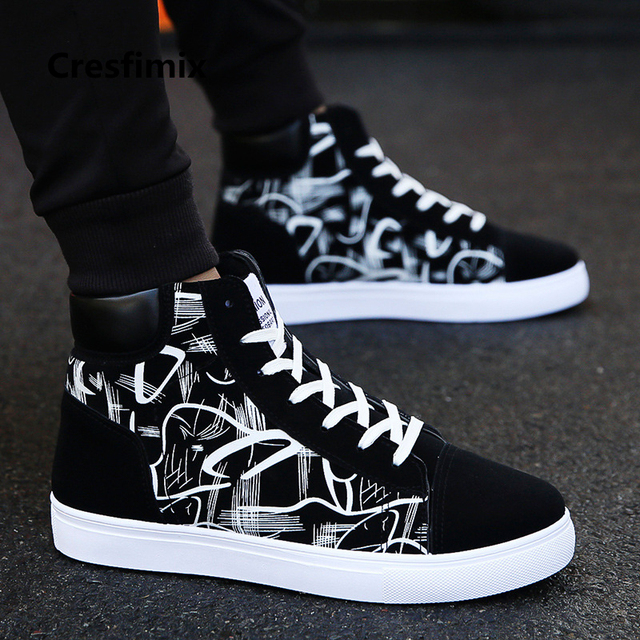 Cresfimix zapatos hombre male fashion new stylish black pattern high shoes men cool spring & autumn comfy lace up shoes a2098