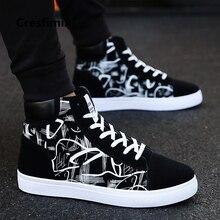 Туфли Cresfimix мужские, стильная удобная обувь, высокие, с черным узором, на шнуровке, a2098, весна осень