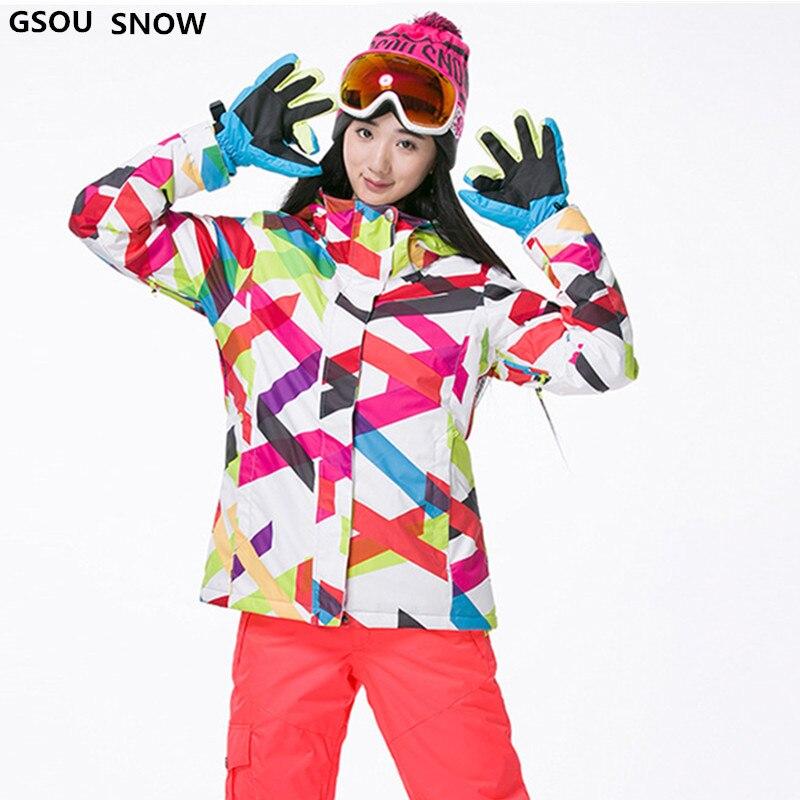 Gsou snow 30 градусов брендовая зимняя куртка для сноуборда для женщин Водонепроницаемая 10000 ветрозащитная цветная женская спортивная Лыжная ку...