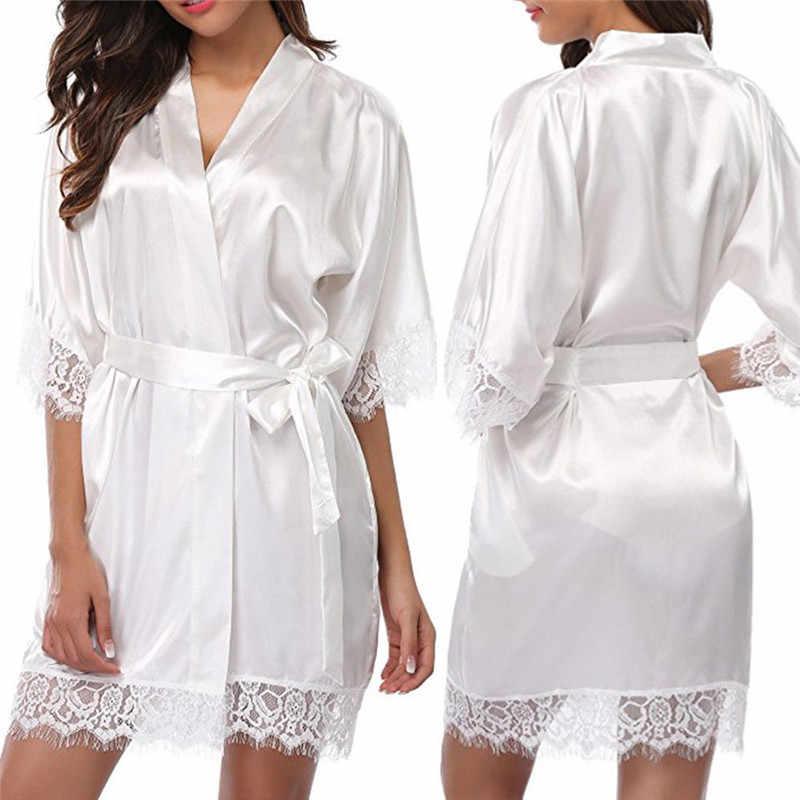 fb362958a0 Women Short Satin Bride Robe Sexy Wedding Dressing Gown Lace Silk Kimono  Bathrobe Summer Bridesmaid Nightwear