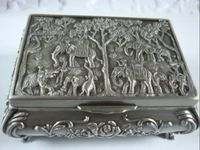China's beautiful Tibet silver jewellery box carved elephant peace