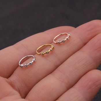 Feelgood 1PC Silver And Gold Color Nose Piercing Jewelry Cz Nose Hoop Nostril Ring Flower Helix Cartilage Tragus Earring 3