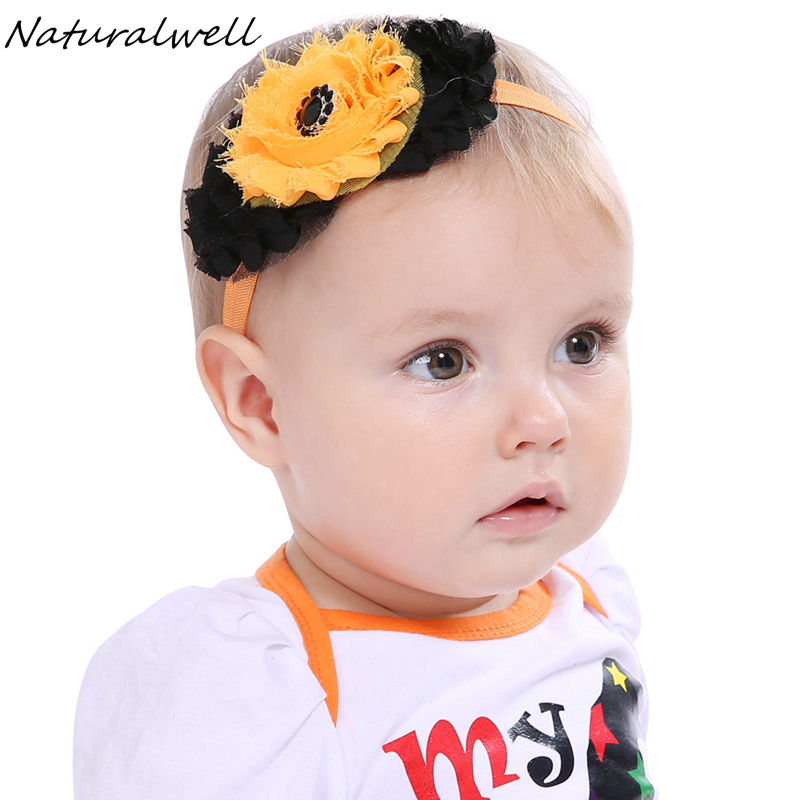 Naturalwell Baby girls halloween flower hairband Toddler shabby chic headbands Infant girls flower head band Photo Prop HB600