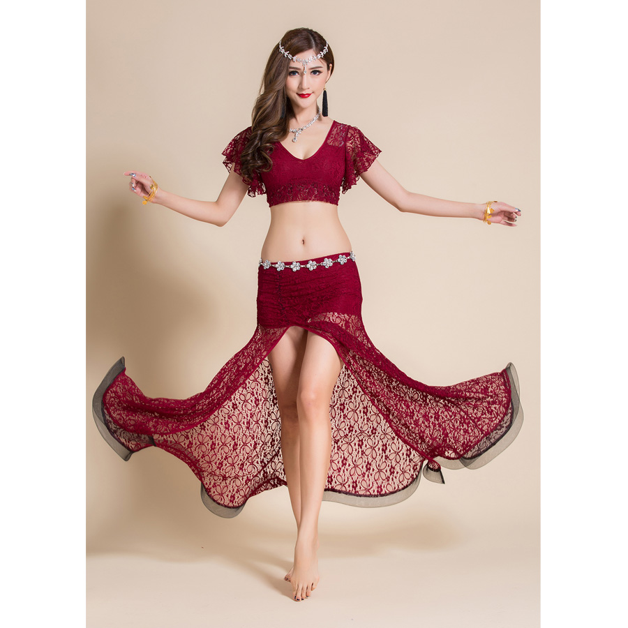 2 Pieces Women Belly Dance Costume Lace Top Long Skirt Sexy Outfits Dancewear V-neck Bellydance Dancing Clothes Dancer Wear
