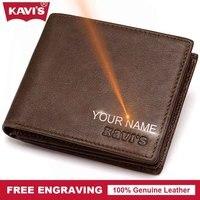 KAVIS Genuine Leather Wallet Men Coin Purse DIY Gift For Male Purse PORTFOLIO Fashion Money Bag