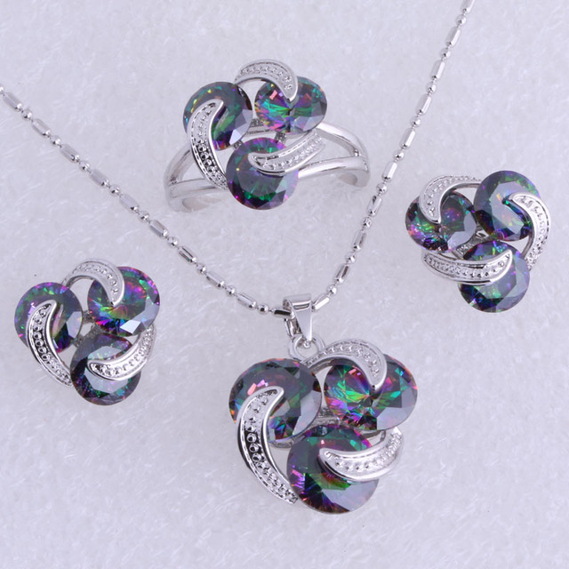 Brilliant Multicolour Mystic Imitation Topaz 925 Stamp Silver Plated Necklace/Pendant/Stud Earrings/Rings Jewelry Sets SH0223