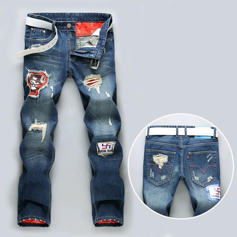 European and American men cultivating autumn harem pants jeans feet pants waist trousers tide male hole