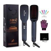Ionic Hair Straightener Brush Comb, MCH Ceramic Heating, LED Display, Adjustable Temperatures, Anti Scald Hair Straighten