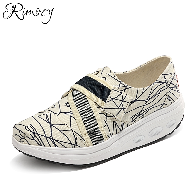 Rimocy 2018 Spring Summer women printed canvas flats women platform sneakers creepers slip on flats moccasins causal shoes woman fashion women flats summer leather creepers platform sneakers causal shoes solid basket femme white black