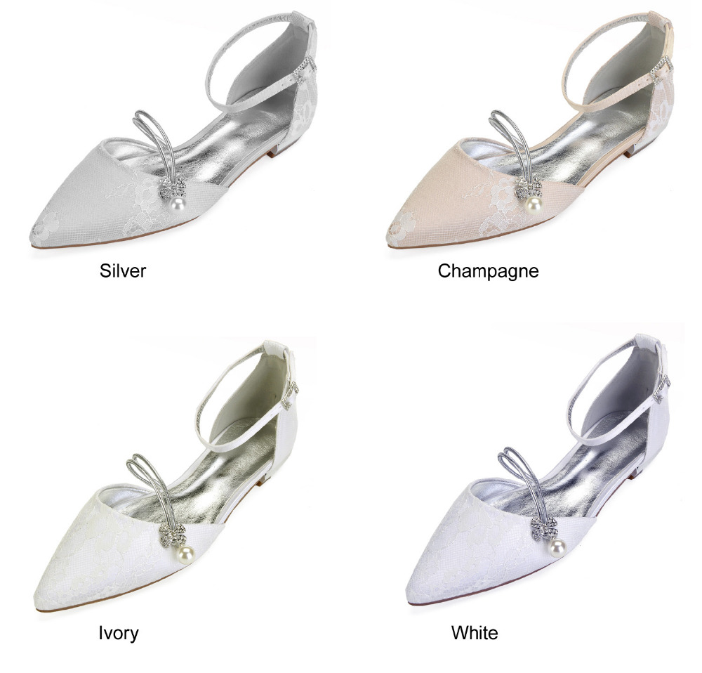 Creativesugar elegant pearl crystal strap pointed toe lady flat lace shoes  bridal wedding prom cocktail dress. sku  32891350533 9f755ab351ee
