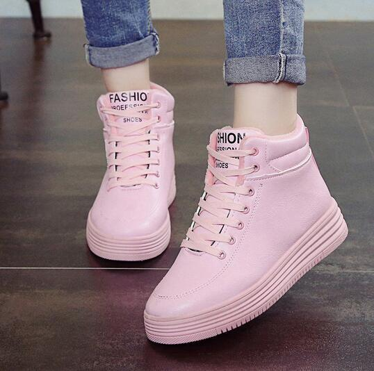 Shoes Woman 2016 New Spring Women Casual Shoes Lace-Up Women Fashion Shoes Platform Flats High top zapatos mujer