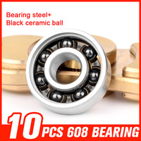 10pcs 608 High Revs Ceramic Bearings For Inline Roller Skates Speed Skating Skateboard Hand Spinner Hardware