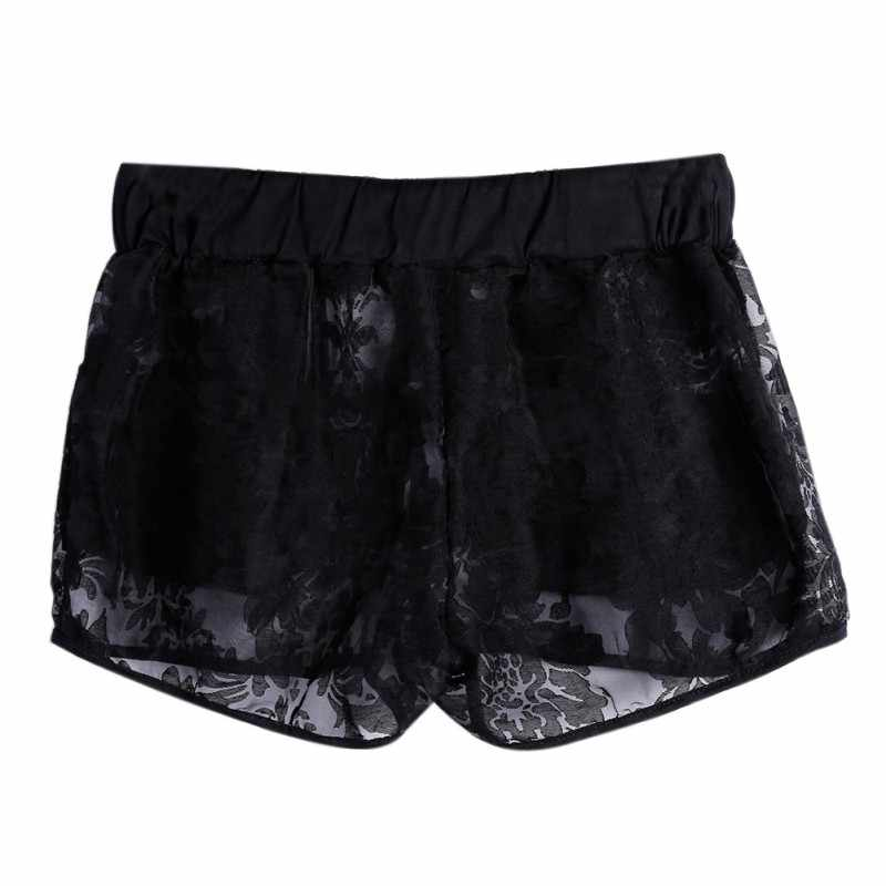 Sexy Lace Hollow Uit vrouwen Shorts Trekkoord Zak Elastische Taille Shorts Zomer Vrouwen Hot Casual Korte Broek Femme Zwart wit